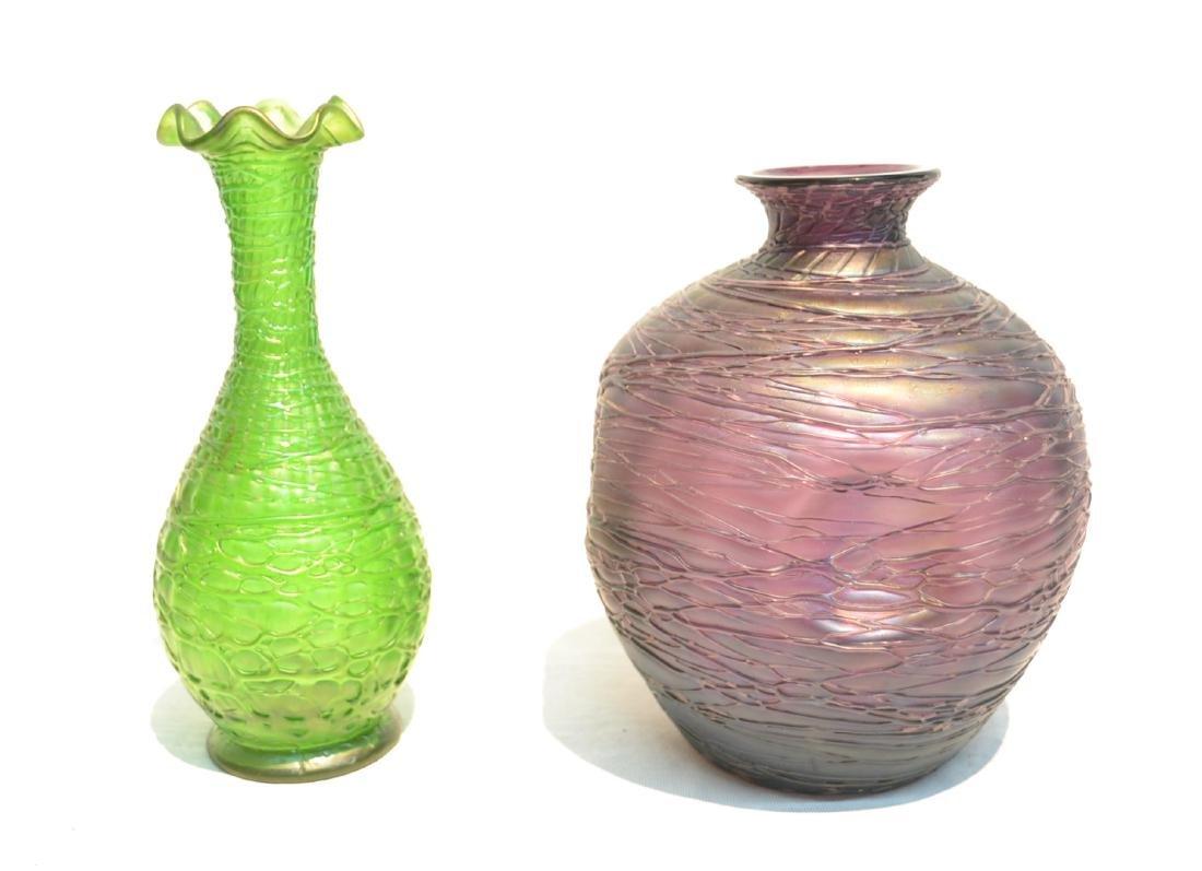 (2) THREADED KRALIK BOHEMIAN GLASS VASES