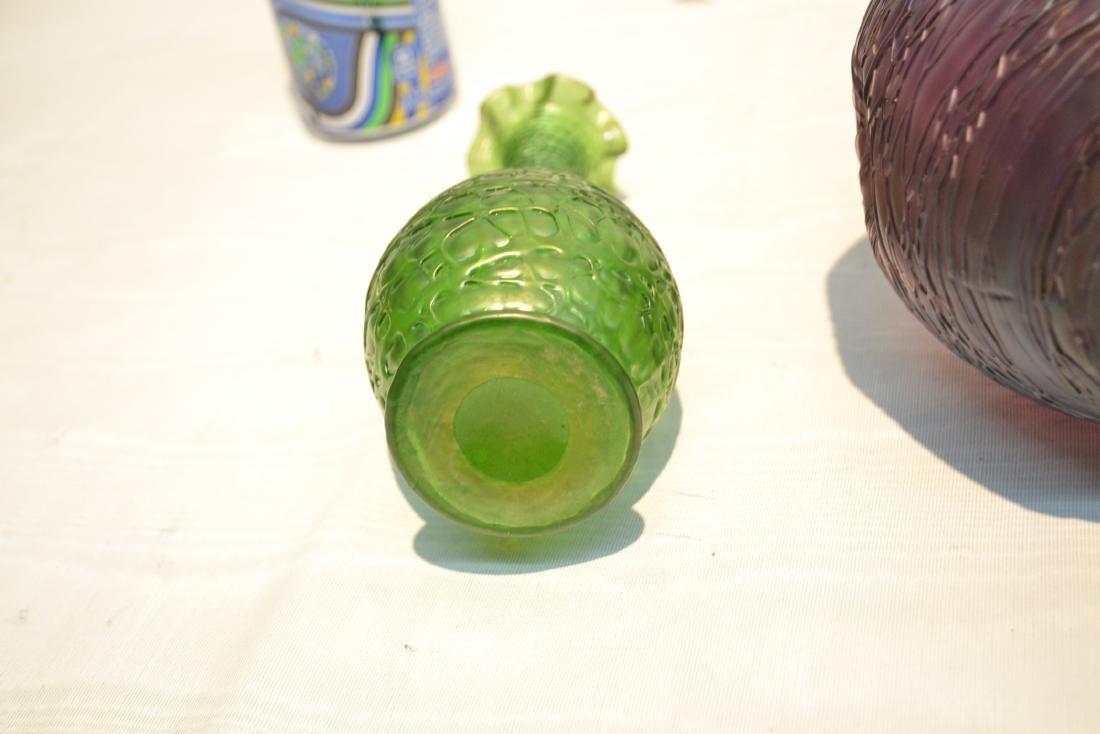 (2) THREADED KRALIK BOHEMIAN GLASS VASES - 7