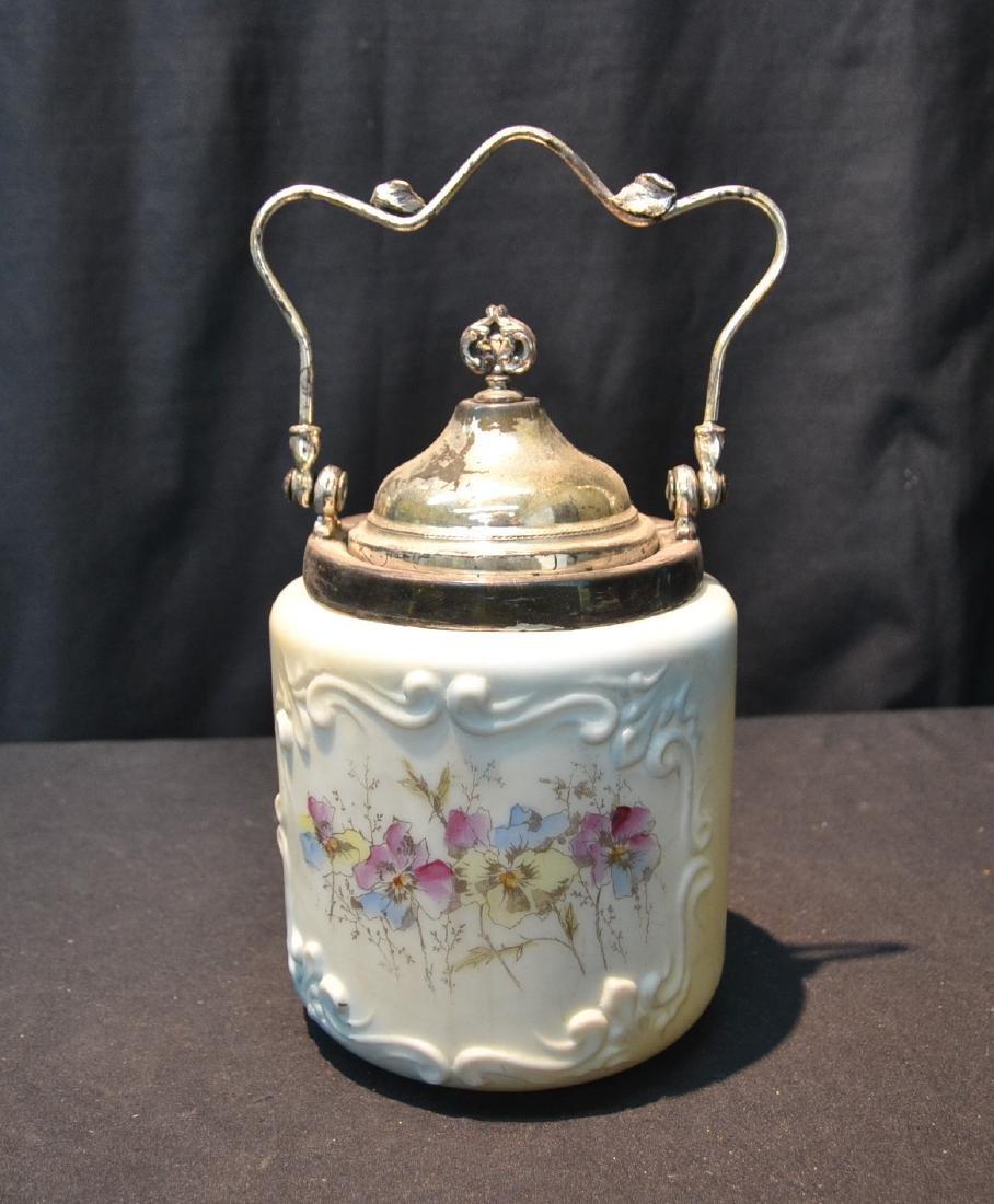 VICTORIAN WAVECREST STYLE CRACKER JAR