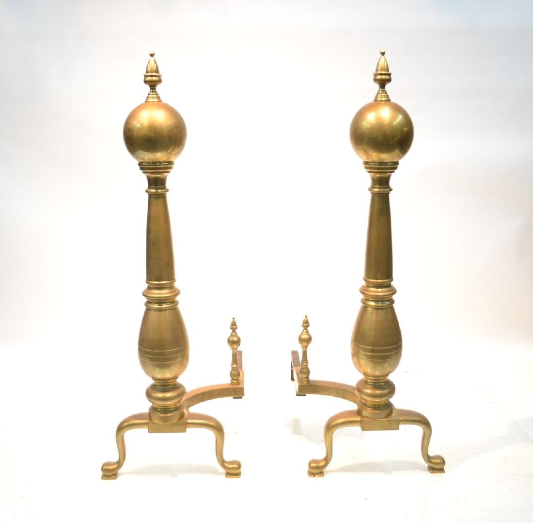 "(Pr) VERY LARGE BRASS ANDIRONS - 18"" x 29"" x 44"""