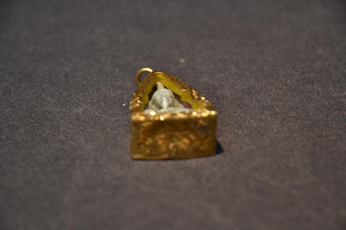"14kt GOLD & HARD STONE BUDDHA PENDANT 1"" x 2"" - 7"