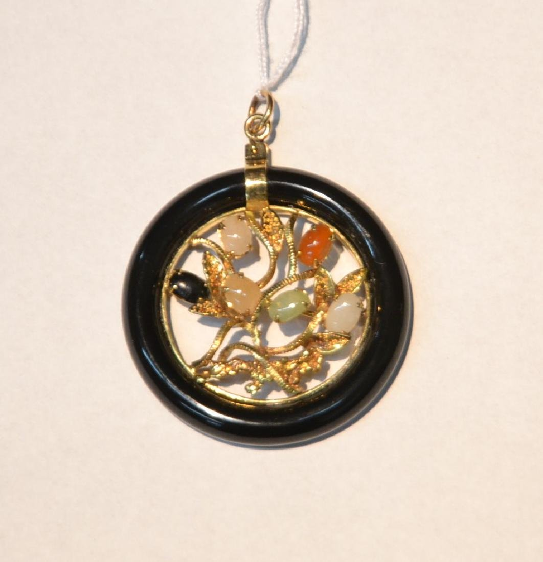 14kt GOLD CHINESE PIN WITH ONYX , JADE & AGATE