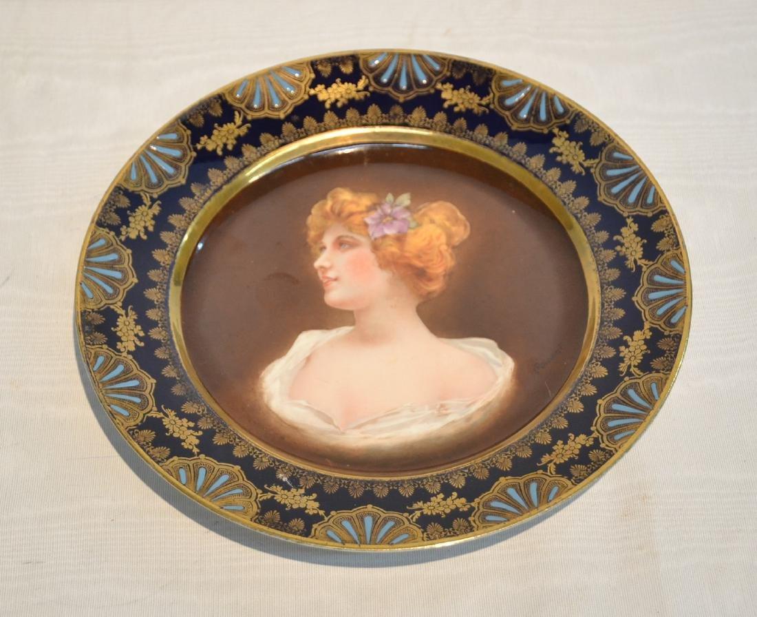 ROYAL VIENNA COBALT PORTRAIT PLATE OF WOMAN