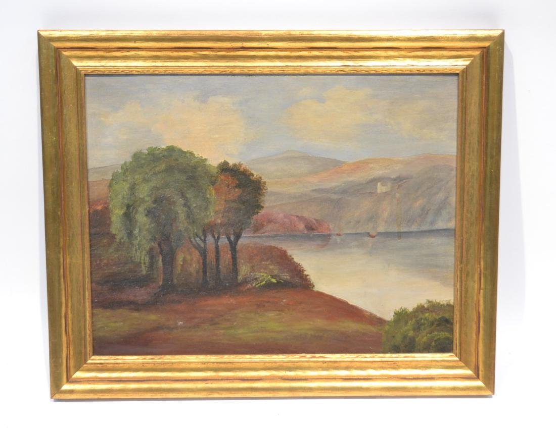OIL ON CANVAS HUDSON RIVER LANDSCAPE