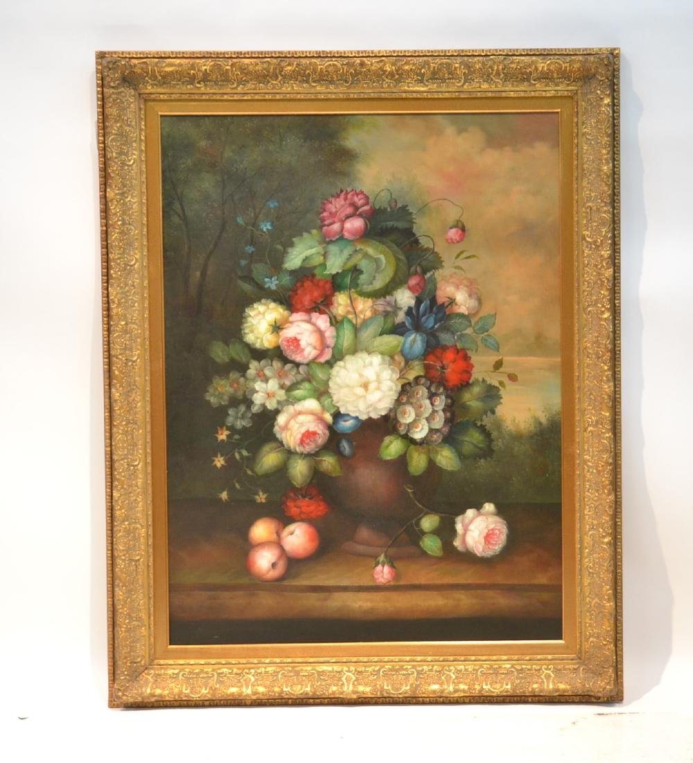 LARGE OIL ON CANVAS FLORAL STILL LIFE