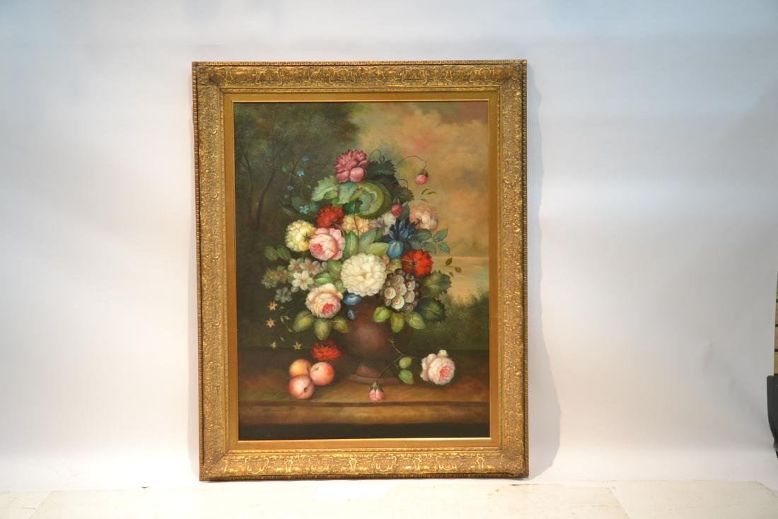 LARGE OIL ON CANVAS FLORAL STILL LIFE - 2