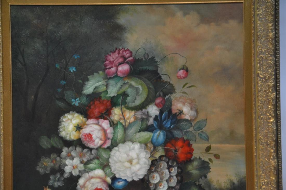 LARGE OIL ON CANVAS FLORAL STILL LIFE - 3