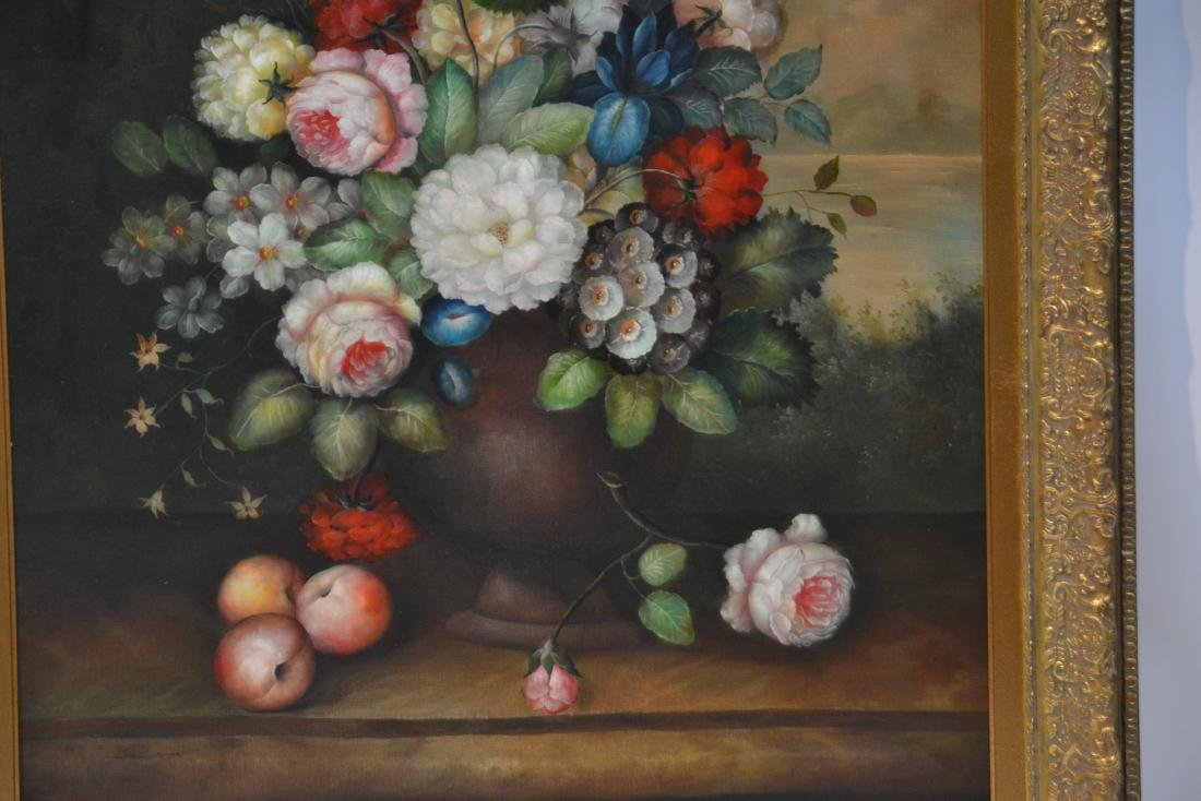 LARGE OIL ON CANVAS FLORAL STILL LIFE - 4