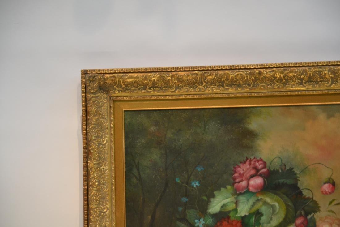 LARGE OIL ON CANVAS FLORAL STILL LIFE - 5