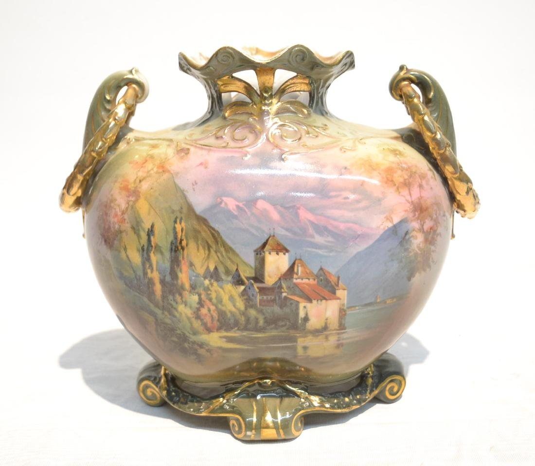 TWIN HANDLE ROYAL BAYREUTH HAND PAINTED VASE