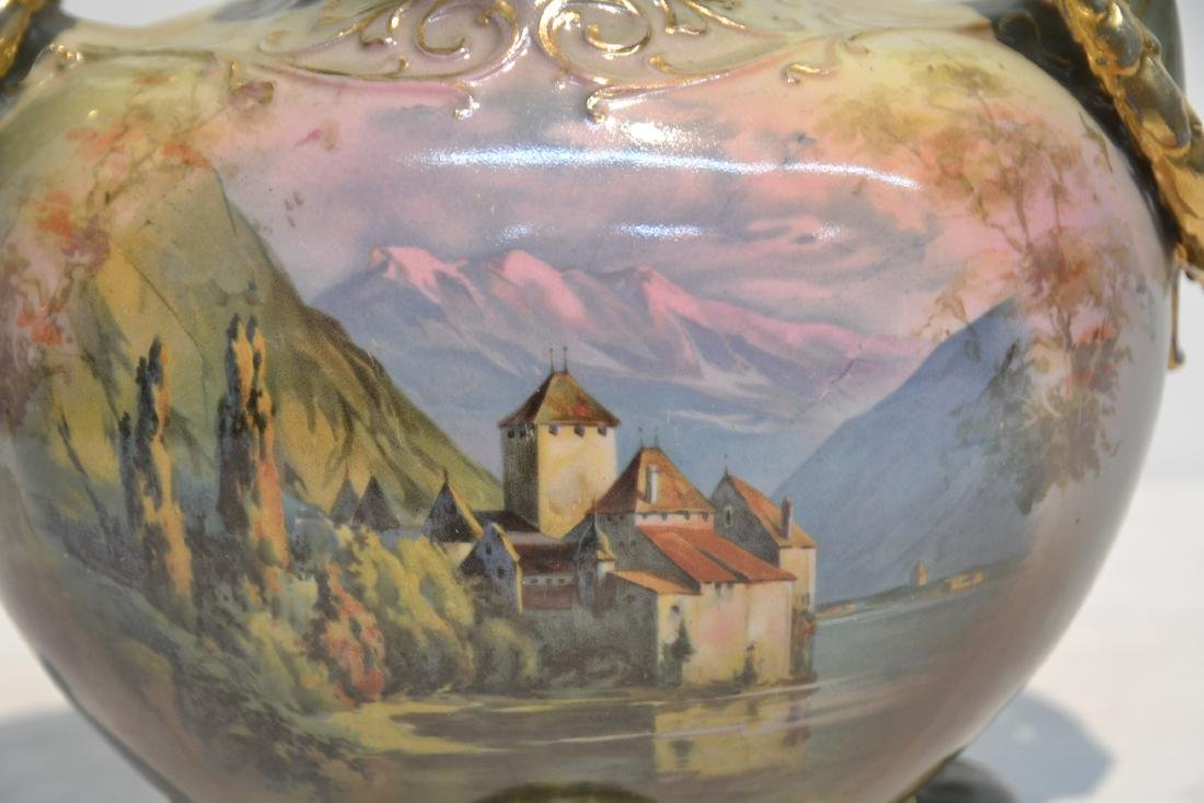 TWIN HANDLE ROYAL BAYREUTH HAND PAINTED VASE - 2