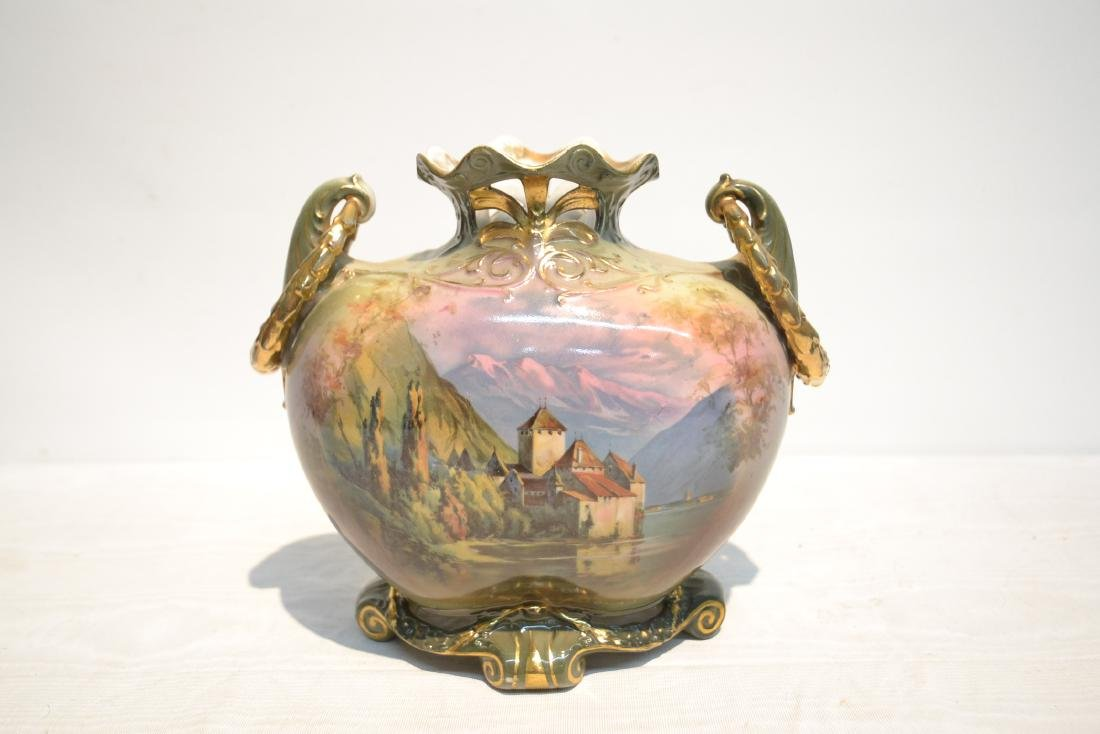 TWIN HANDLE ROYAL BAYREUTH HAND PAINTED VASE - 9