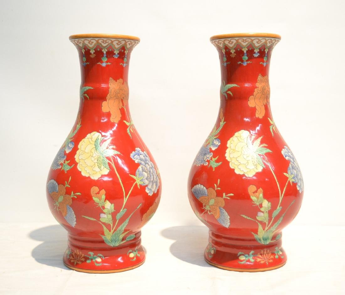 (Pr) RED GROUND CHINESE PORCELAIN VASES WITH