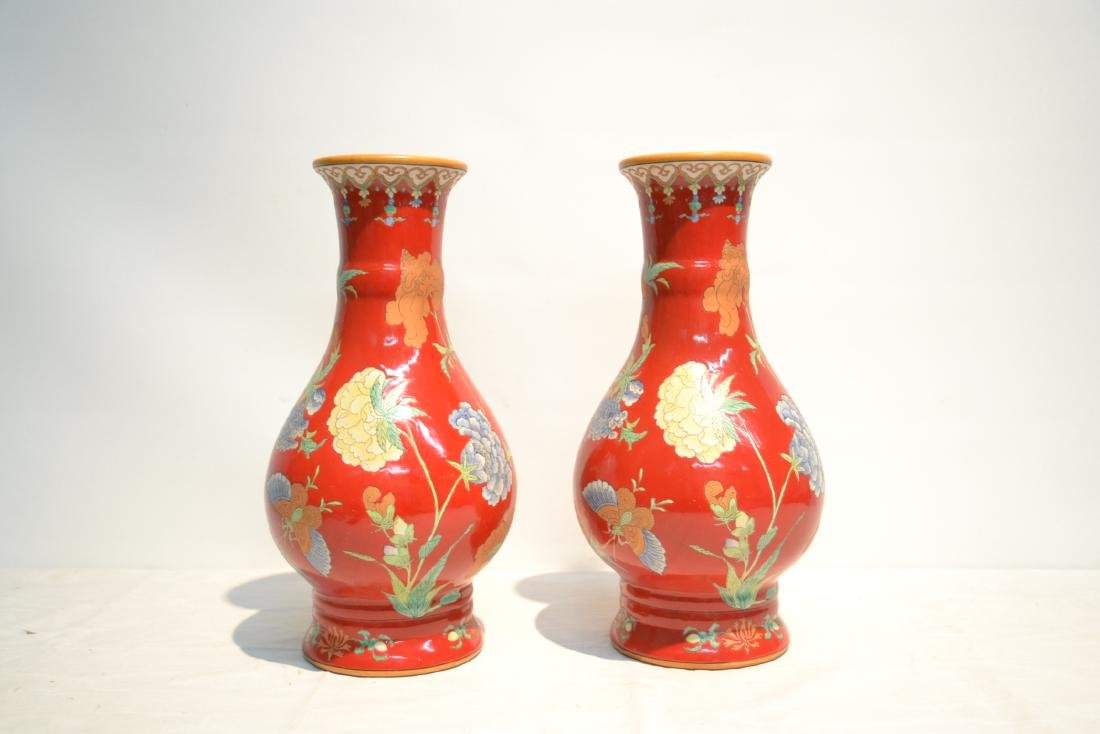 (Pr) RED GROUND CHINESE PORCELAIN VASES WITH - 2