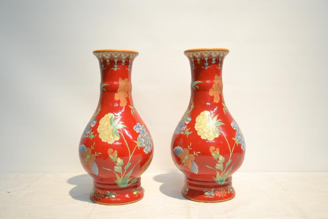 (Pr) RED GROUND CHINESE PORCELAIN VASES WITH - 3