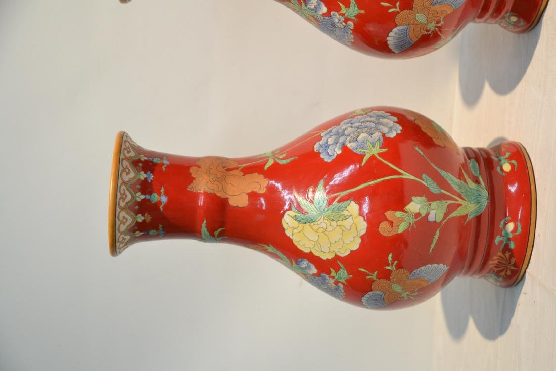 (Pr) RED GROUND CHINESE PORCELAIN VASES WITH - 5