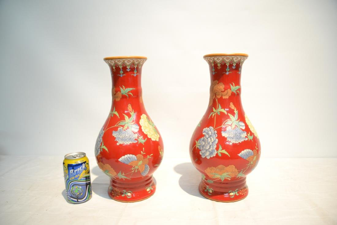 (Pr) RED GROUND CHINESE PORCELAIN VASES WITH - 6