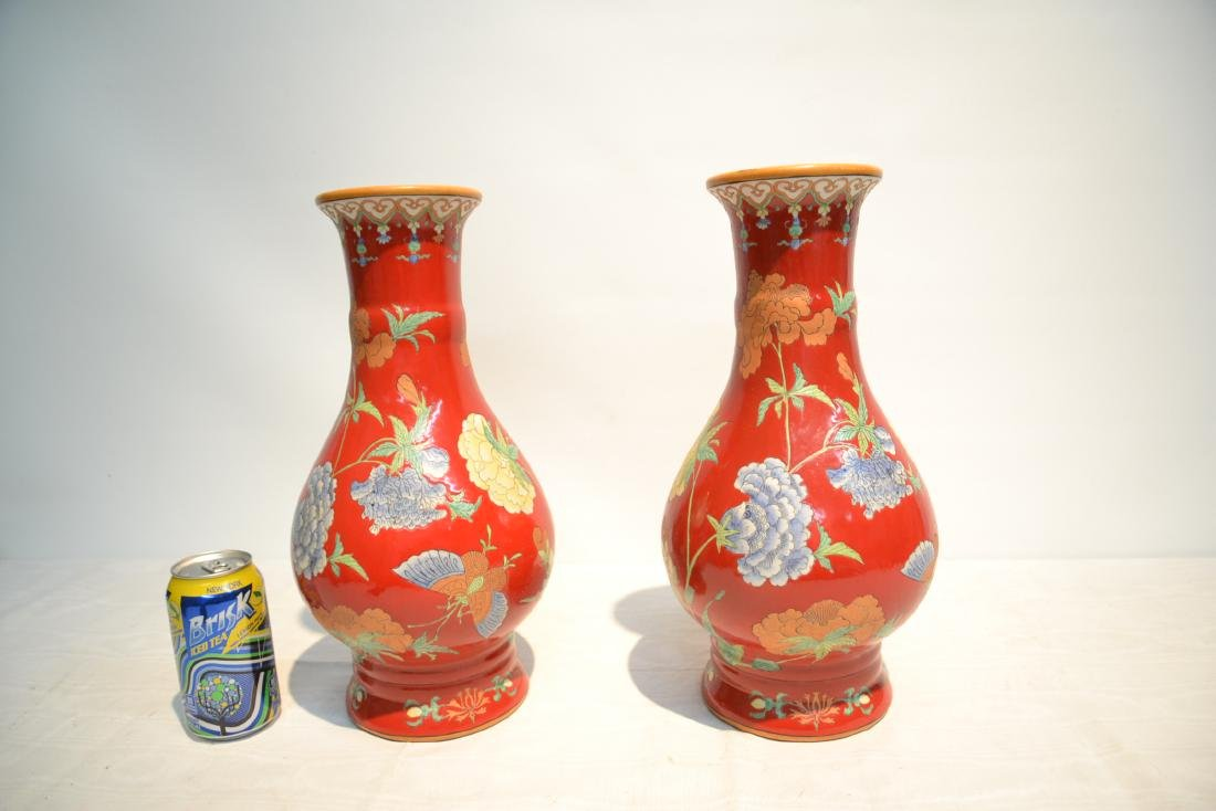 (Pr) RED GROUND CHINESE PORCELAIN VASES WITH - 7
