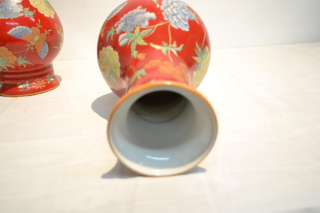(Pr) RED GROUND CHINESE PORCELAIN VASES WITH - 8
