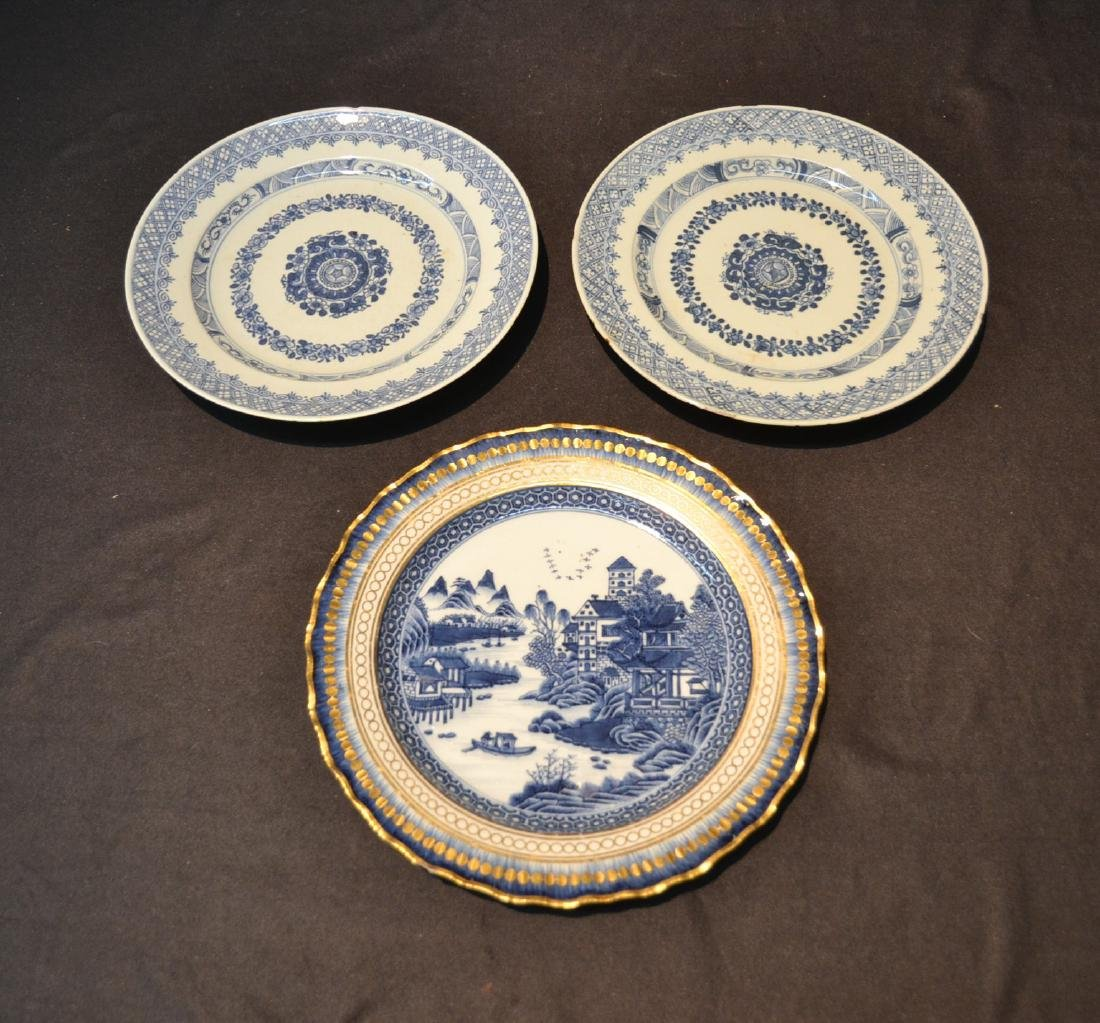 "(3) BLUE & WHITE CHINESE PORCELAIN PLATES - 9 3/4"""