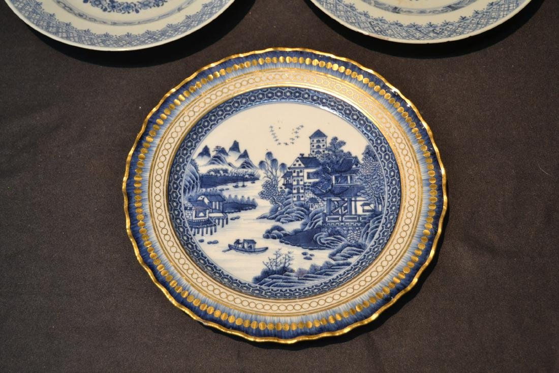 "(3) BLUE & WHITE CHINESE PORCELAIN PLATES - 9 3/4"" - 2"