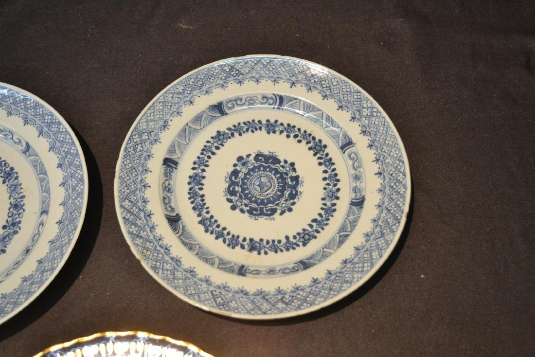 "(3) BLUE & WHITE CHINESE PORCELAIN PLATES - 9 3/4"" - 3"