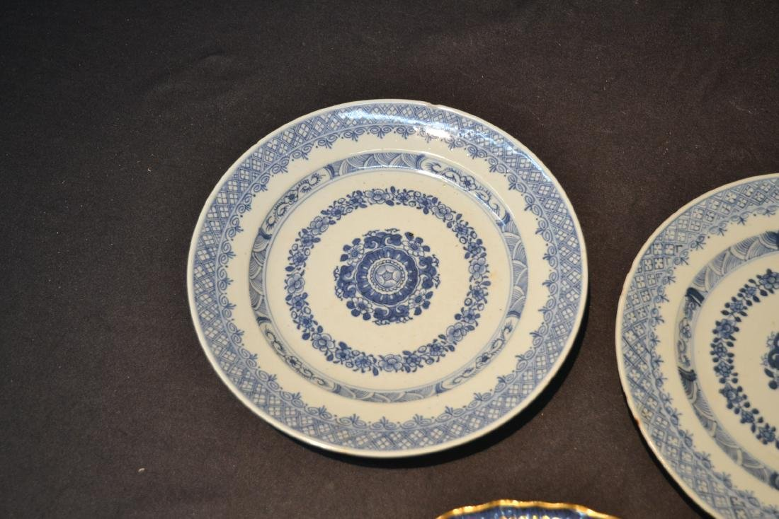 "(3) BLUE & WHITE CHINESE PORCELAIN PLATES - 9 3/4"" - 4"