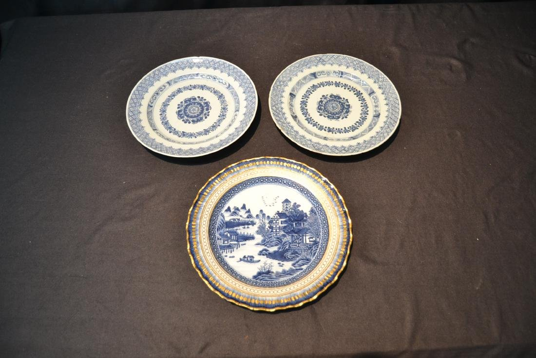 "(3) BLUE & WHITE CHINESE PORCELAIN PLATES - 9 3/4"" - 7"