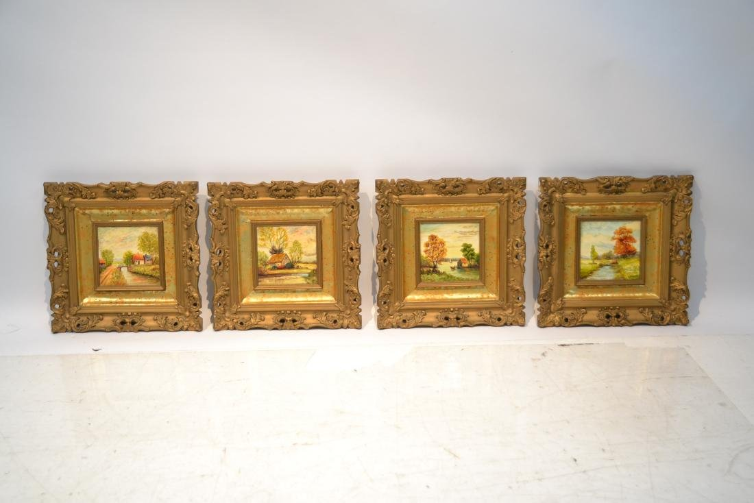 (4) PAINTINGS ON TILE OF BARN LANDSCAPE - 2