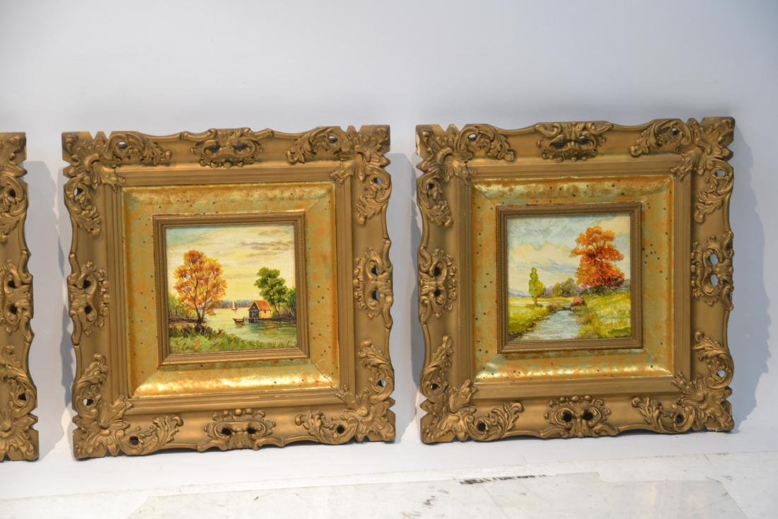 (4) PAINTINGS ON TILE OF BARN LANDSCAPE - 5