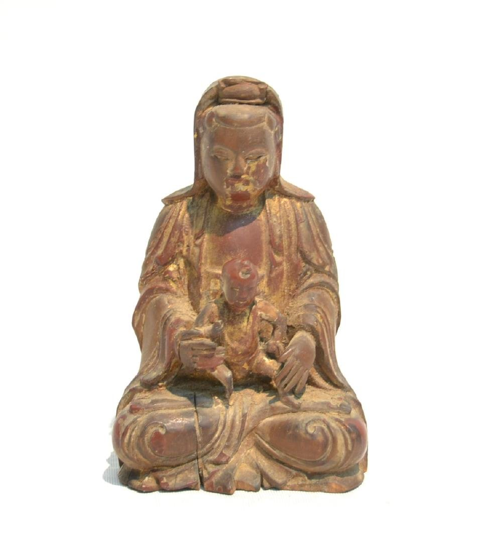 CARVED WOOD BUDDHA WITH CHILD
