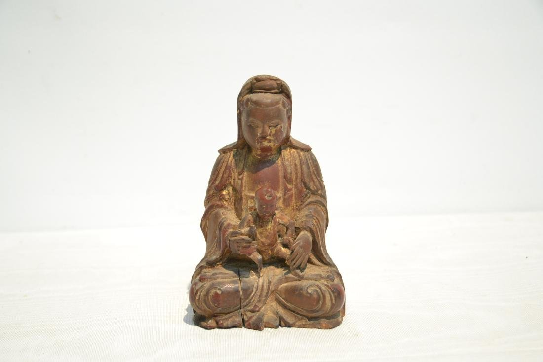 CARVED WOOD BUDDHA WITH CHILD - 2