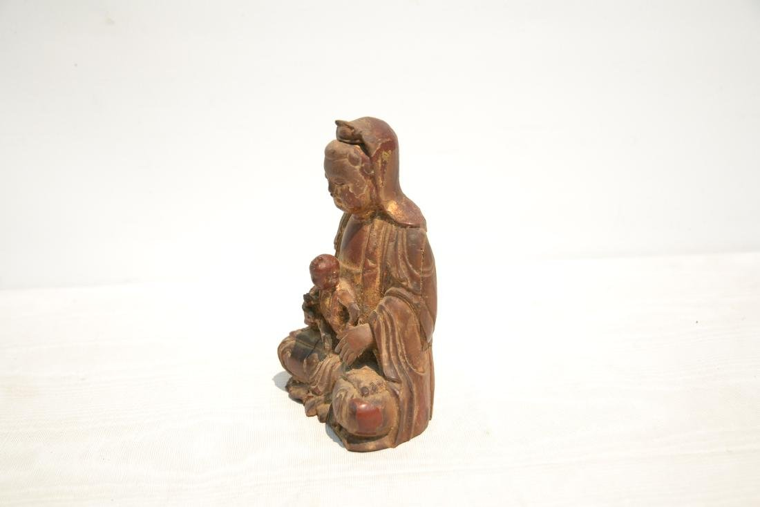 CARVED WOOD BUDDHA WITH CHILD - 4