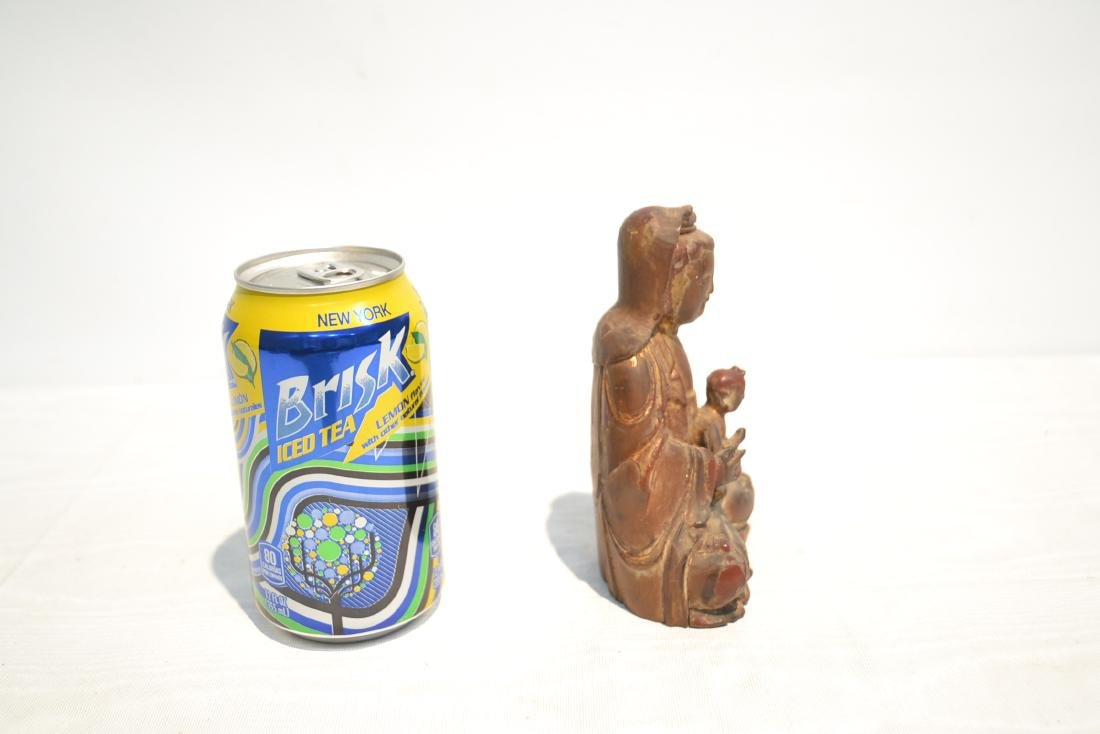 CARVED WOOD BUDDHA WITH CHILD - 6
