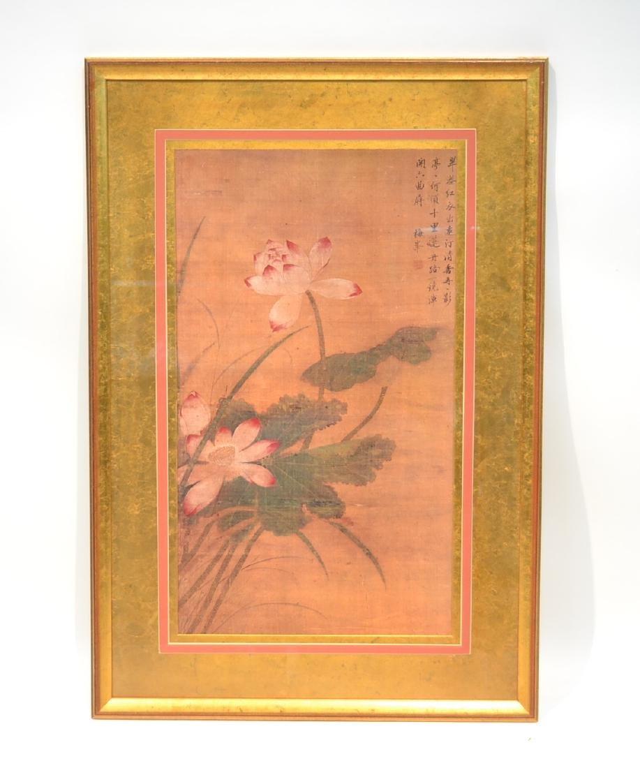 "ORIENTAL PRINT OF FLOWERS - 26"" x 38"""