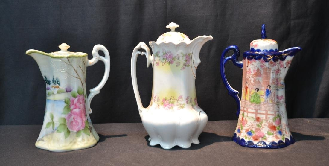 (3) PORCELAIN CHOCOLATE POTS TO INCLUDE