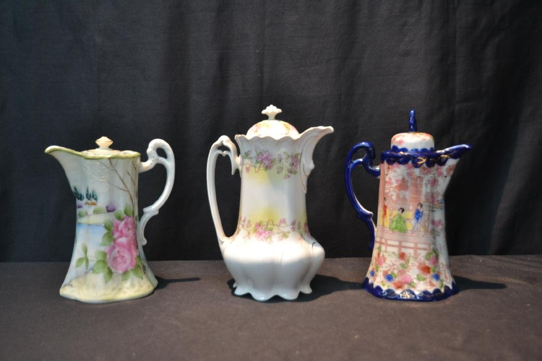 (3) PORCELAIN CHOCOLATE POTS TO INCLUDE - 2