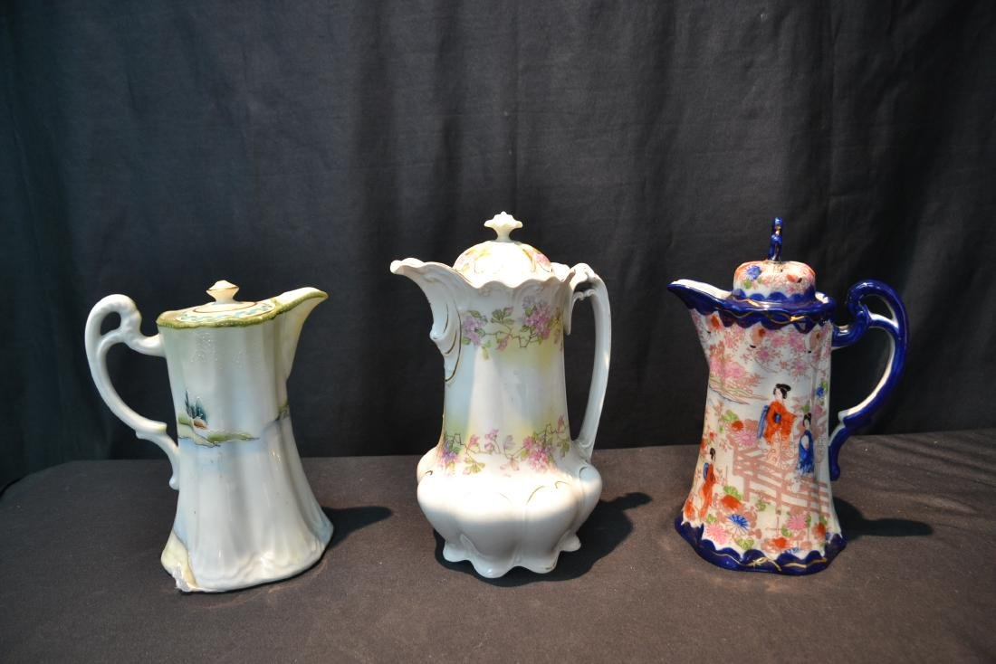 (3) PORCELAIN CHOCOLATE POTS TO INCLUDE - 5