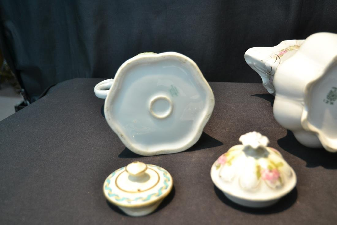 (3) PORCELAIN CHOCOLATE POTS TO INCLUDE - 7