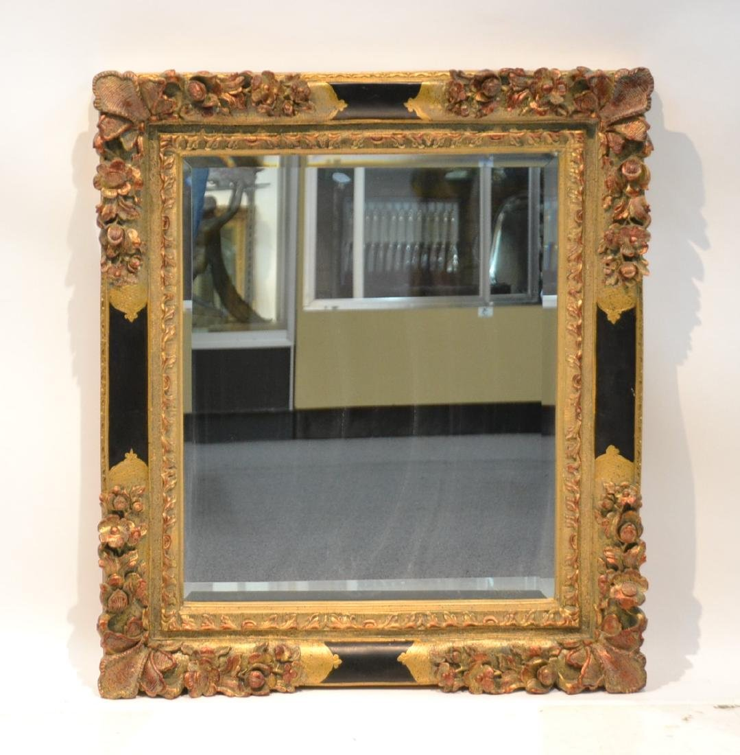 "BLACK & GOLD BEVELED MIRROR - 28"" x 31"":"