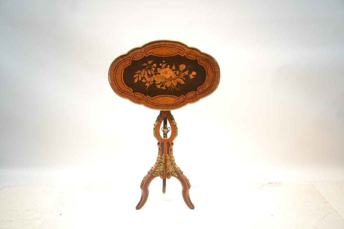 FLORAL MARQUETRY INLAID TILT TOP TABLE - 2