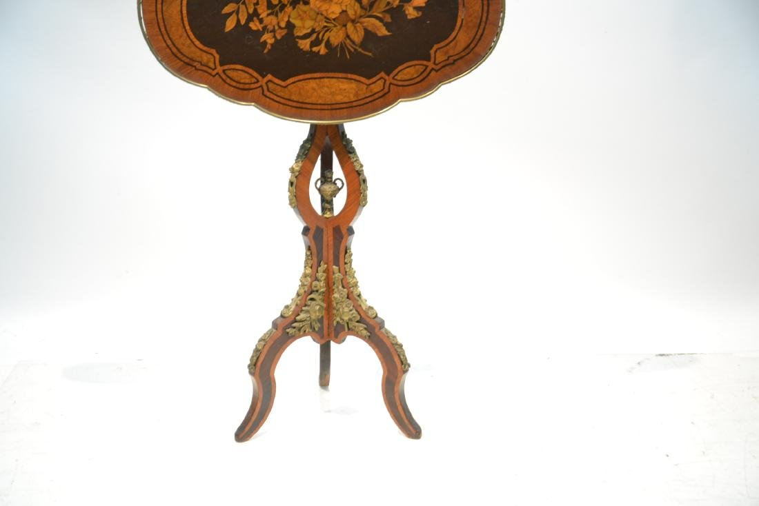 FLORAL MARQUETRY INLAID TILT TOP TABLE - 5