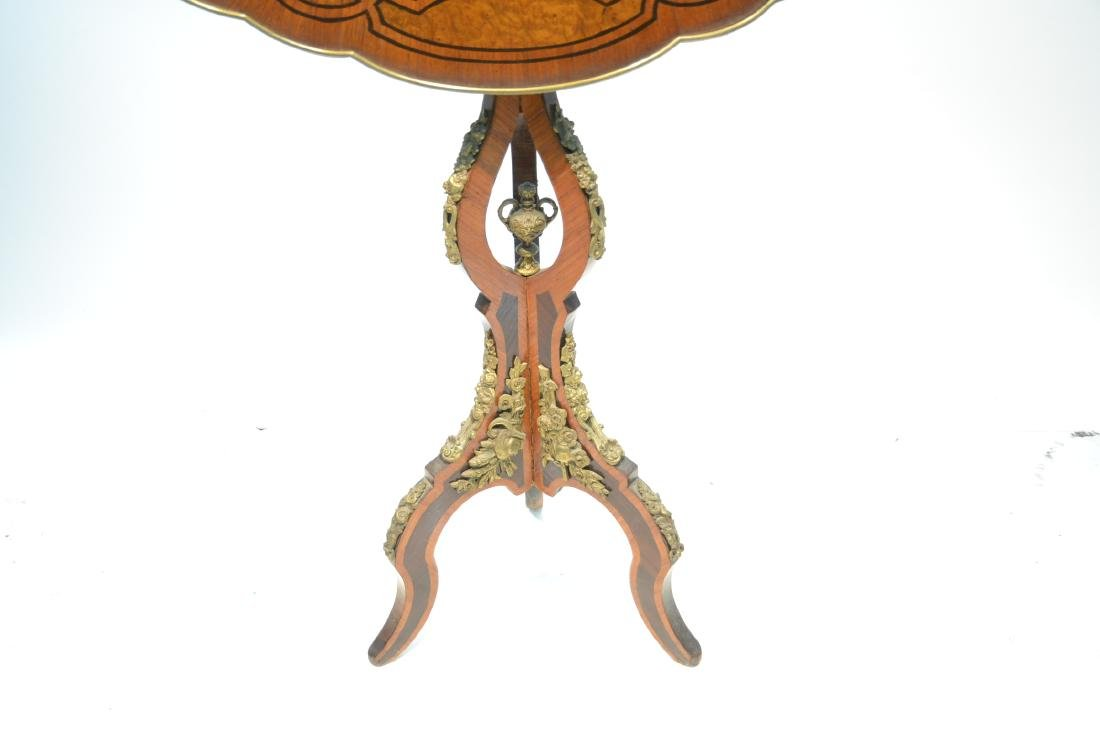FLORAL MARQUETRY INLAID TILT TOP TABLE - 6