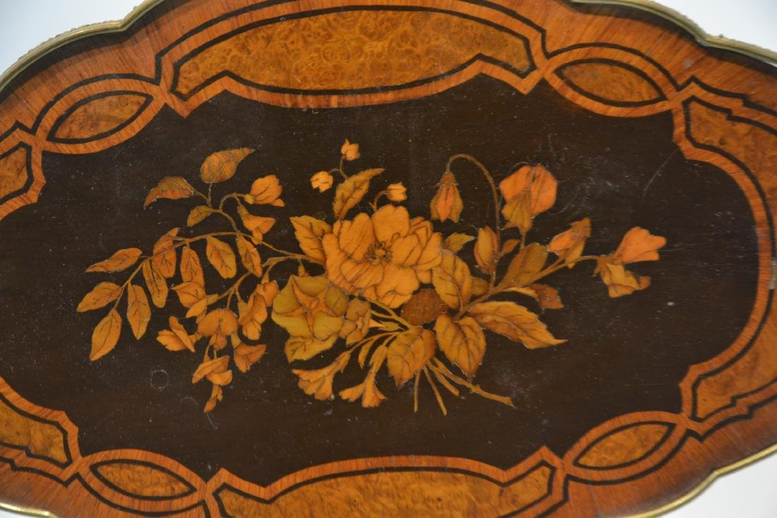 FLORAL MARQUETRY INLAID TILT TOP TABLE - 7