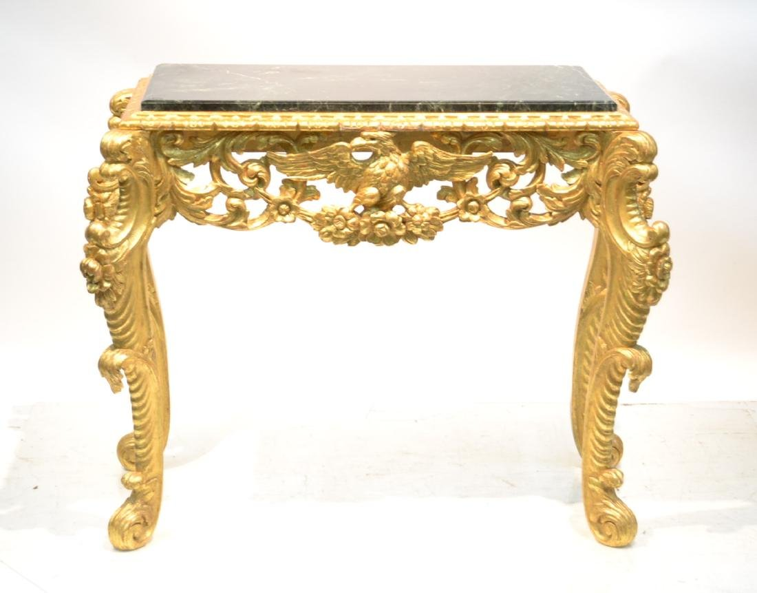 CARVED GILTWOOD MARBLE TOP CONSOLE