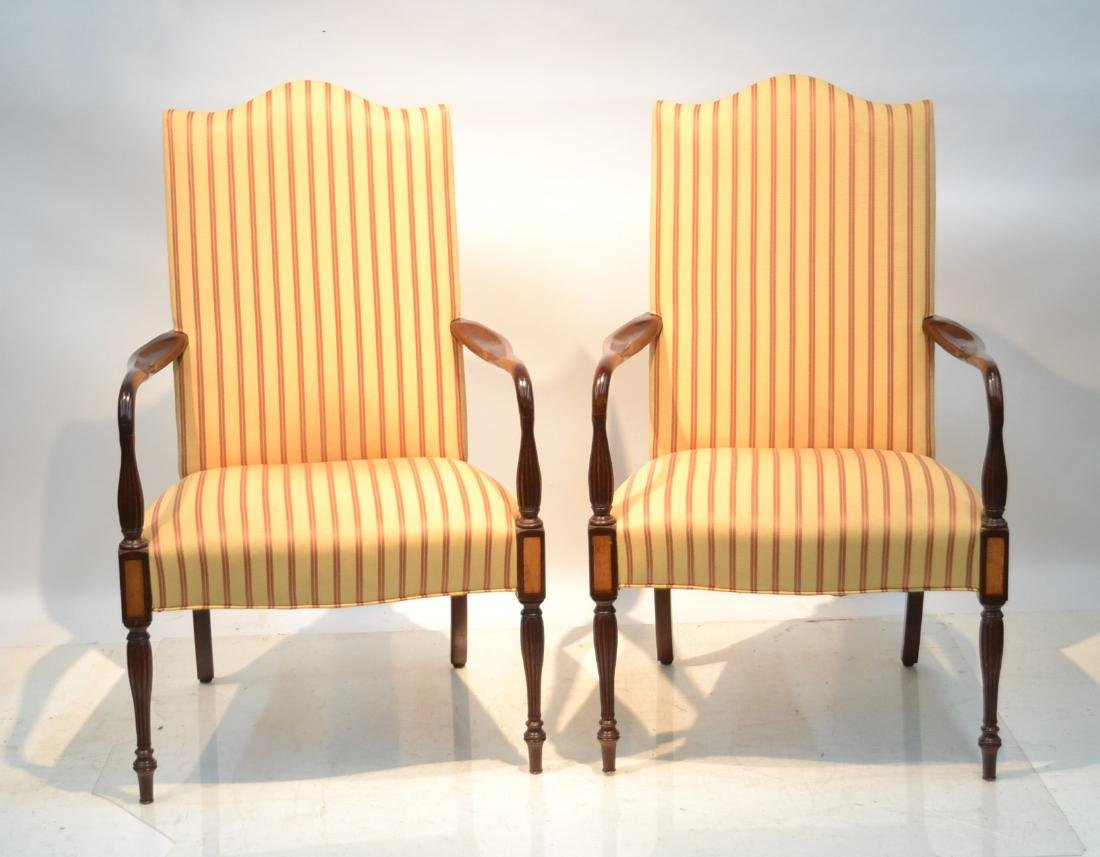 (Pr) ENGLISH MAHOGANY UPHOLSTERED ARM CHAIRS