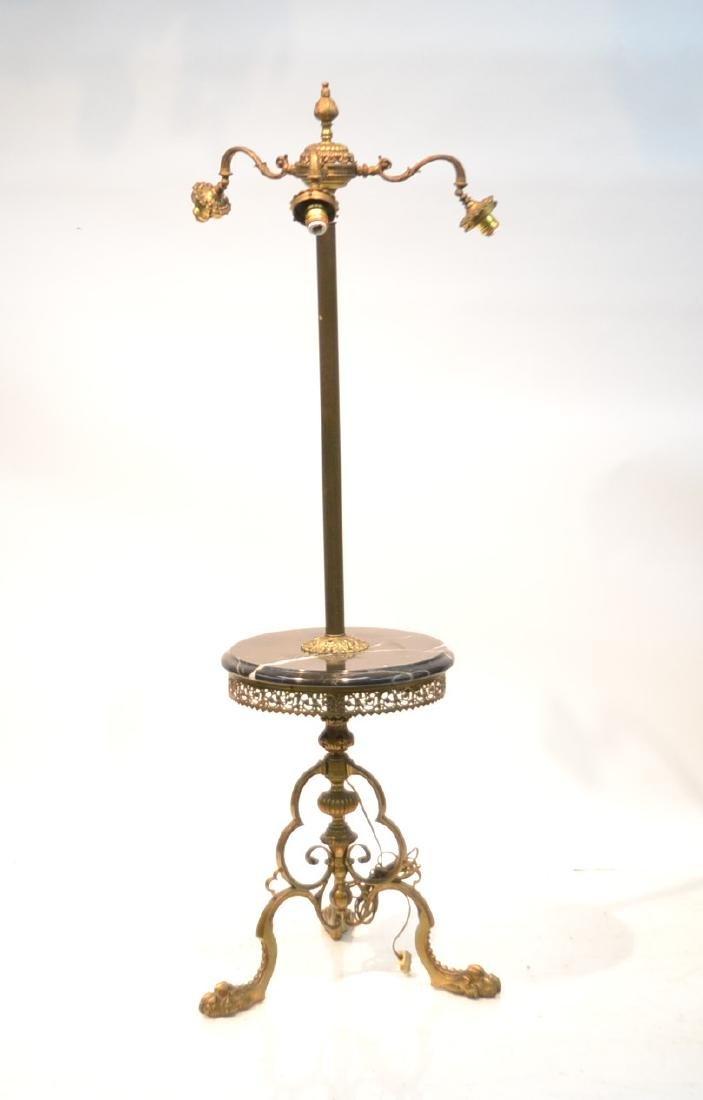 3-LIGHT BRONZE & MARBLE FLOOR LAMP