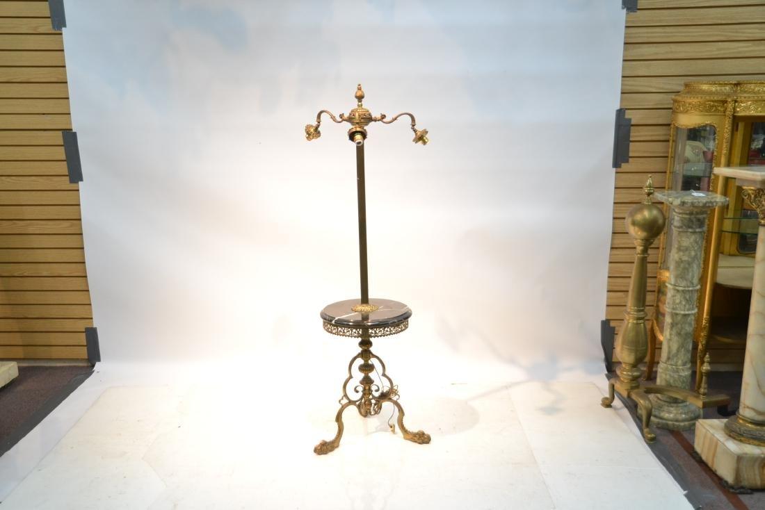 3-LIGHT BRONZE & MARBLE FLOOR LAMP - 2