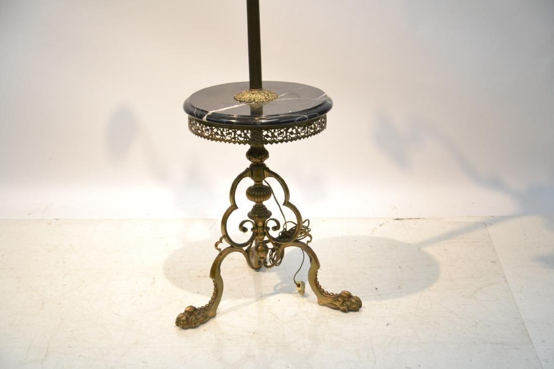 3-LIGHT BRONZE & MARBLE FLOOR LAMP - 3