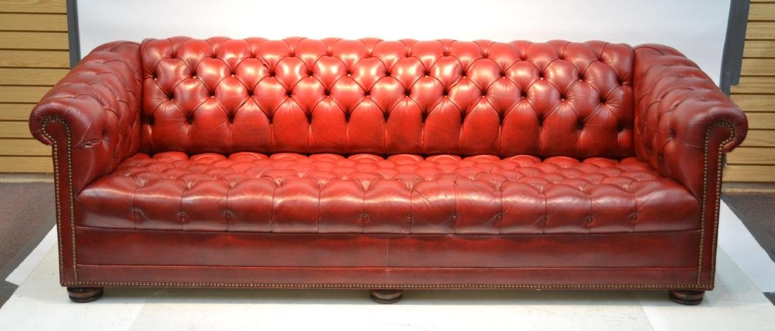 CHESTERFIELD DARK RED LEATHER SOFA